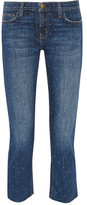 Current/Elliott The Cropped Straight Printed Mid-Rise Straight-Leg Jeans