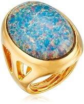 Kenneth Jay Lane Polished Gold Open Side Blue Opal Center Ring