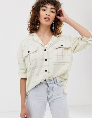 Asos Design DESIGN long sleeve check shirt with double pocket detail and contrast buttons-Multi