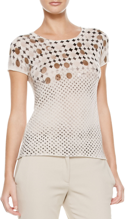 Piazza Sempione Daisy & Polka-Dot Tee, Cream/Brown