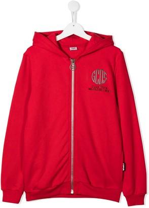 Gcds Kids TEEN logo-print zipped hoodie