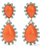 Kenneth Jay Lane Gold-Tone Stone Clip Earrings