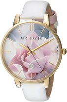 Ted Baker Women's 'Classic' Quartz Stainless Steel and White Leather Dress Watch (Model: 10030691)