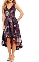 Eliza J V-Neck Brocade High Low Dress