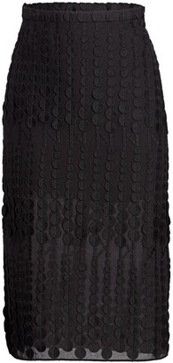 Akris Punto Dot Embroidered Slit Midi Skirt
