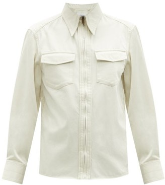 Lemaire Point-collar Zip-front Cotton-twill Shirt - Ivory