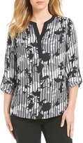 Investments Petites Y-Neck Roll Tab Sleeve Printed Blouse