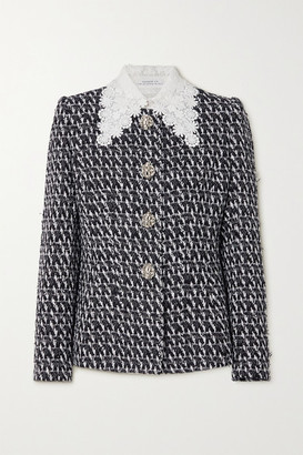 Andrew Gn Guipure Lace-trimmed Embellished Boucle-tweed Jacket - Black