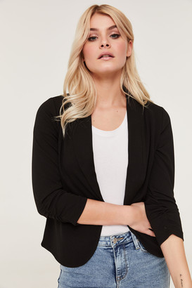 Ardene Crepe Blazer with Ruched Sleeves
