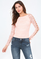 Bebe Lattice Sleeve Bodysuit