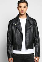 Boohoo Pu Biker Jacket With Quilted Yoke