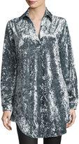 Glamorous Spread-Collar Velvet Shirtdress, Navy