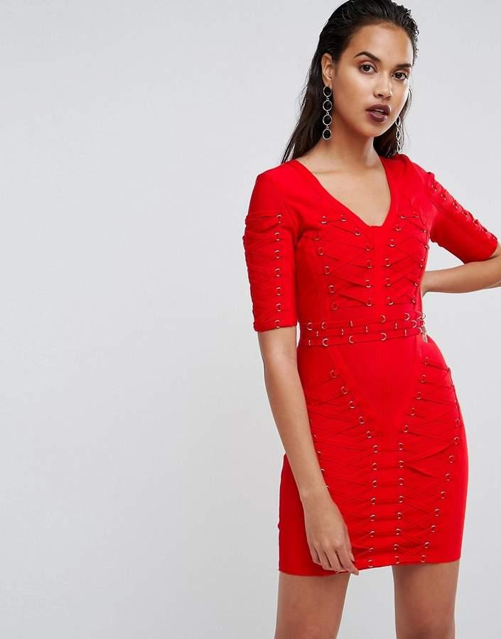 boohoo Premium Bandage Lattice Bodycon Dress