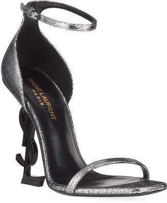 Saint Laurent Opyum Metallic Logo-Heel Sandals