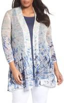 Nic+Zoe Plus Size Women's Azure Linen Blend Cardigan