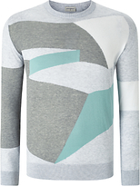 John Smedley Compose Intarsia Knit Jumper, Feather Grey