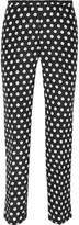 Rochas Printed cotton and silk-blend faille slim-leg pants