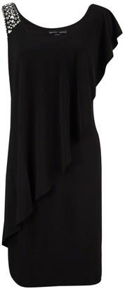 Betsy & Adam Women's Bead Strapdrape Side Ruffle Layer Jersey Short