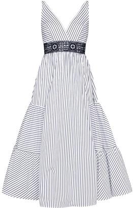 Silvia Tcherassi Stripe-Print Tiered Midi Dress