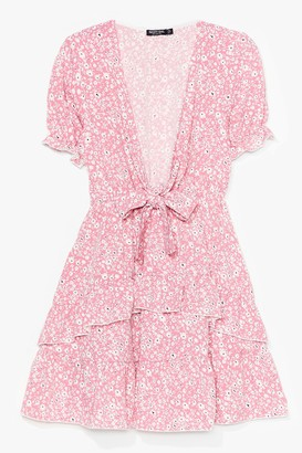 Nasty Gal Womens Give It a Tie Floral Mini Dress - Baby Pink