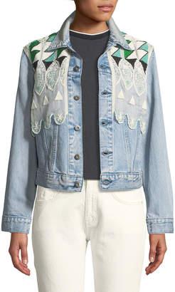 Levi's Boyfriend Denim Trucker Jacket w/ Embroidery