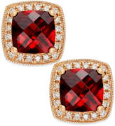 Macy's Garnet (2-1/4 ct. t.w.) and Diamond Accent Stud Earrings in 14k Rose Gold
