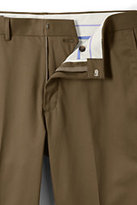 Lands' End Men's Plain Front Traditional Fit No Iron Twill Dress Pants-Tree Root