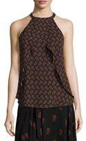 A.L.C. Iggy Draped Silk Dahlia Top, Black/Brown