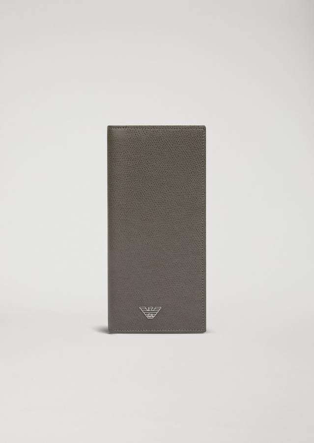 Emporio Armani Vertical Wallet In Printed Leather