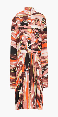 Cédric Charlier Pleated Printed Crepe Mini Dress