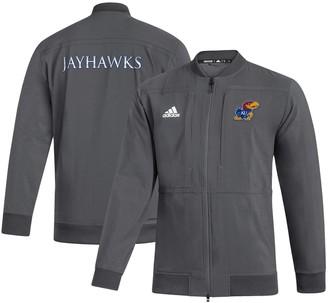 adidas Men's Gray Kansas Jayhawks Sideline Full-Zip Bomber Jacket