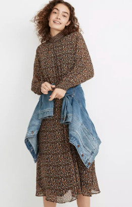 Madewell (Re)sourced Georgette Smocked-Neck Midi Dress