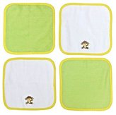 Neat Solutions Happy Monkey Embroidered/Solid Woven Terry Washcloth Set, Green/Yellow, 4-count by