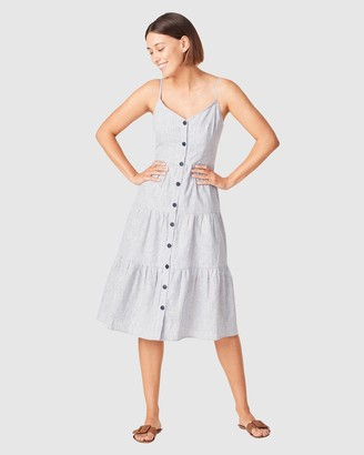 French Connection Women's Dresses - Linen Stripe Tiered Dress - Size One Size, 16 at The Iconic
