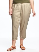 Old Navy Mid-Rise Linen-Blend Plus-Size Cropped Pants