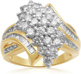 JCPenney FINE JEWELRY 2 CT. T.W. Diamond Cluster 10K Yellow Gold Ring