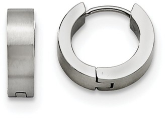 Chisel Stainless Steel Brushed and Polished Round Hinged Hoop Earrings