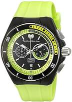 Technomarine Men's Quartz Watch with Black Dial Chronograph Display and Green Silicone Strap TM-115160