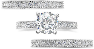 Sterling Forever Silver Cz 3Pc Ring Set