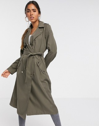 Vero Moda trench coat with buttons detail in khaki