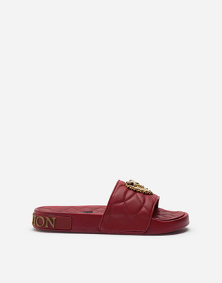 Dolce & Gabbana Beachwear Devotion Sliders In Matelasse Nappa Leather