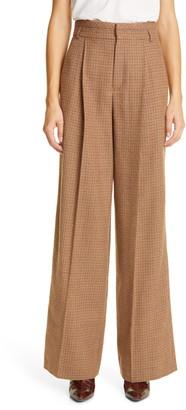 Chloé High Waist Wide Leg Houndstooth Wool Pants