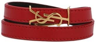 Saint Laurent Logo Leather Wrap Bracelet