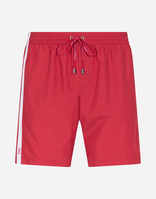 Dolce & Gabbana Mid-Length Swim Trunks With Branded Side Band