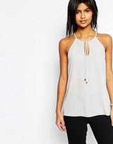 Asos High Neck Cami with Keyhole & Tie Front