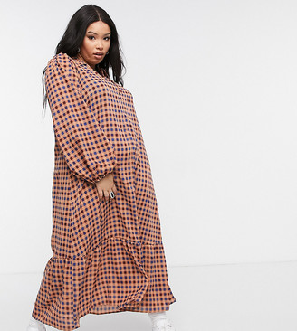 Lola May Curve tiered smock dress in pink check
