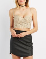 Charlotte Russe Embroidered Bustier Crop Top