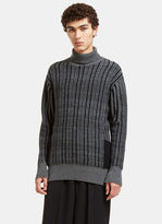 Curieux Men's Mixed Yarn Roll Neck Knit Sweater In Grey