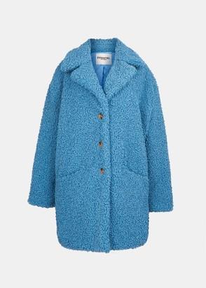 Essentiel Antwerp Essentiel Tott tribal oversized faux fur coat in light blue - polyester | blue | small - Blue/Blue
