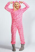 Boohoo Lara Leopard Print Hooded Onesie